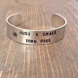 Hand stamped adjustable metal cuff bracelet set